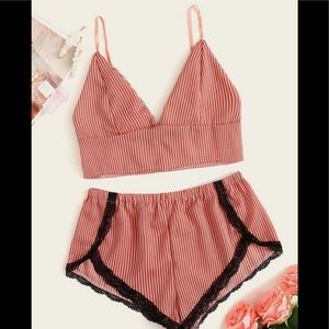 Other - Striped contrast lace bralette and shorts